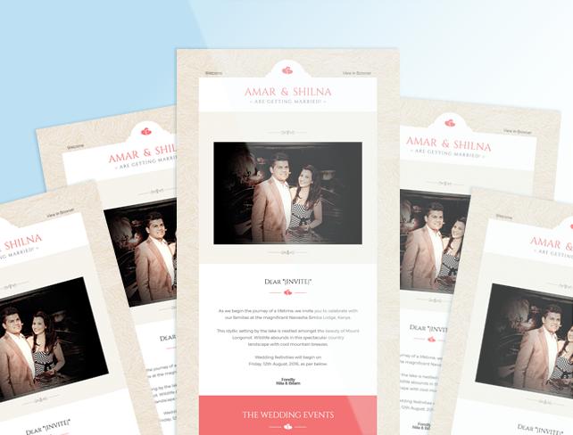 Amar And Shilnas Wedding Invite MailChimp Template Web Design - Mailchimp invitation template