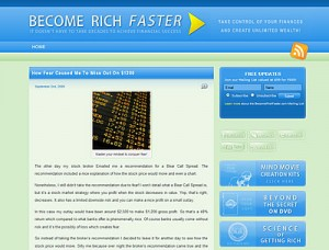 BecomeRichFaster website Screen shot