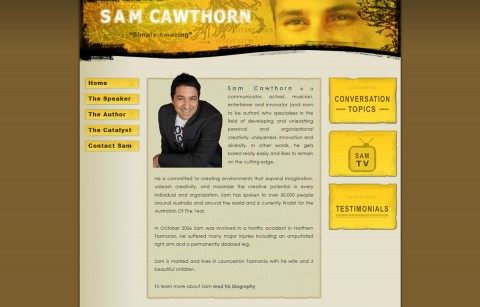 Sam Cawthorn's Official Website 2009